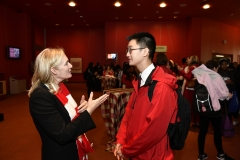 York U student speaking with Rhonda Lenton